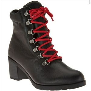 Cougar Angie Black Leather Red Lace Heeled Booties